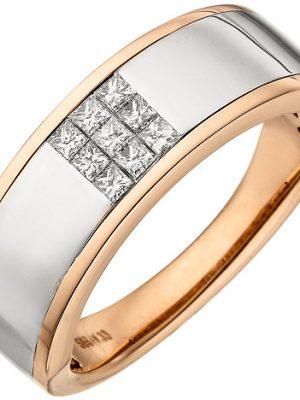 SIGO Damen Ring 585 Gold Rotgold bicolor 9 Diamanten Princess Schliff