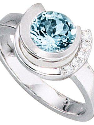SIGO Damen Ring 585 Gold Weißgold 1 Aquamarin hellblau blau 5 Diamanten Brillanten