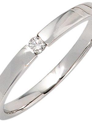 SIGO Damen Ring 585 Gold Weißgold 1 Diamant Brillant 0,05ct. Diamantring Weißgoldring