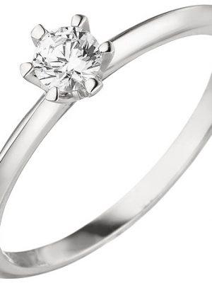 SIGO Damen Ring 585 Gold Weißgold 1 Diamant Brillant 0,25 ct. Diamantring Solitär