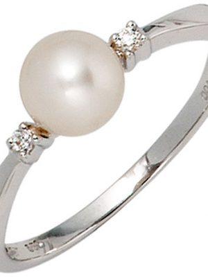 SIGO Damen Ring 585 Gold Weißgold 1 Süßwasser Perle 2 Diamanten Brillanten Perlenring