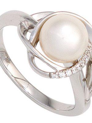 SIGO Damen Ring 585 Gold Weißgold 1 Süßwasser Perle 9 Diamanten Brillanten Goldring