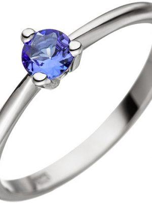 SIGO Damen Ring 585 Gold Weißgold 1 Tansanit blau Weißgoldring