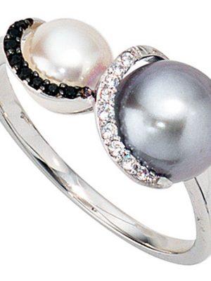 SIGO Damen Ring 585 Gold Weißgold 2 Süßwasser Perlen 17 Diamanten Brillanten Goldring