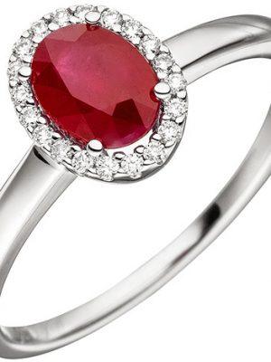 SIGO Damen Ring 585 Gold Weißgold 20 Diamanten Brillanten 1 Rubin rot Rubinring