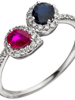 SIGO Damen Ring 585 Gold Weißgold 38 Diamanten Brillanten 1 Rubin rot 1 Safir blau