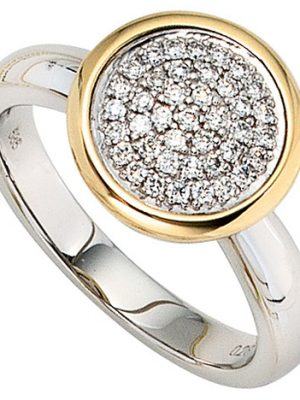SIGO Damen Ring 585 Gold Weißgold Gelbgold bicolor 40 Diamanten Brillanten Goldring