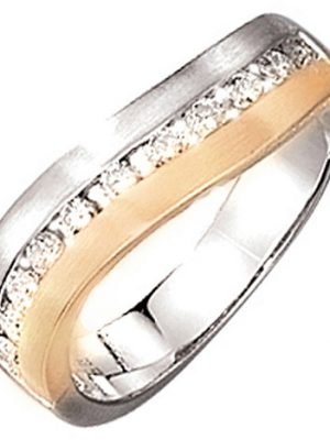 SIGO Damen Ring 585 Gold Weißgold Gelbgold bicolor matt 11 Diamanten Brillanten
