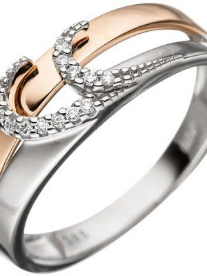SIGO Damen Ring 585 Gold Weißgold Rotgold bicolor 13 Diamanten Brillanten Goldring