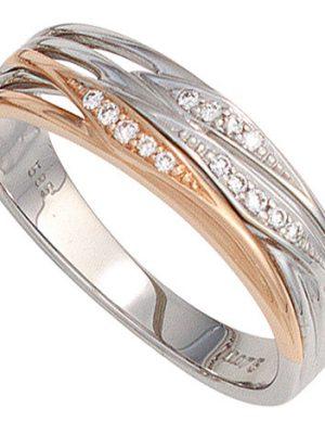 SIGO Damen Ring 585 Gold Weißgold Rotgold bicolor 14 Diamanten Brillanten Goldring