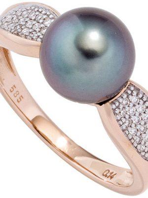SIGO Damen Ring 585 Rotgold 1 Tahiti Perle 34 Diamanten Brillanten Perlenring