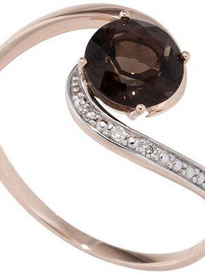 SIGO Damen Ring 585 Rotgold bicolor 1 Rauchquarz braun 3 Diamanten Brillanten