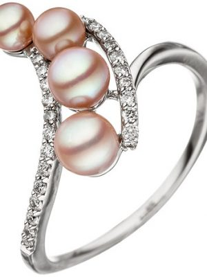 SIGO Damen Ring 585 Weißgold 4 Süßwasser Perlen rosa 24 Diamanten Brillanten
