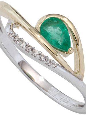 SIGO Damen Ring 585 Weißgold Gelbgold bicolor 1 Smaragd grün 7 Diamanten Brillanten