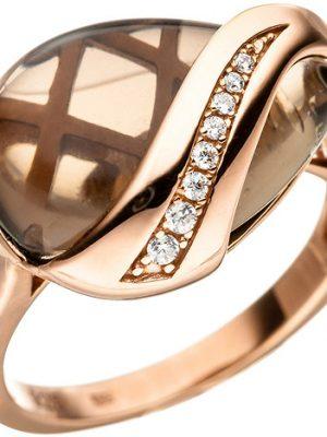 SIGO Damen Ring 925 Silber rotgold vergoldet mit Zirkonia 1 Rauchquarz braun