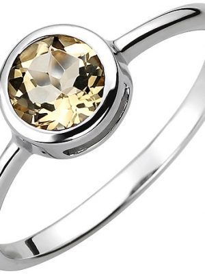 SIGO Damen Ring 925 Sterling Silber 1 Citrin gelb Silberring
