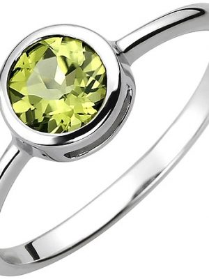 SIGO Damen Ring 925 Sterling Silber 1 Peridot grün Silberring