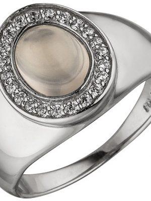 SIGO Damen Ring 925 Sterling Silber 1 Rosenquarz 22 Zirkonia Silberring