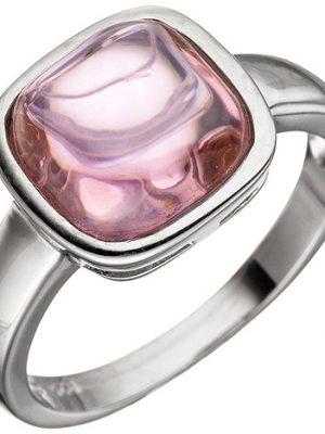 SIGO Damen Ring 925 Sterling Silber 1 Rosenquarz rosa Silberring