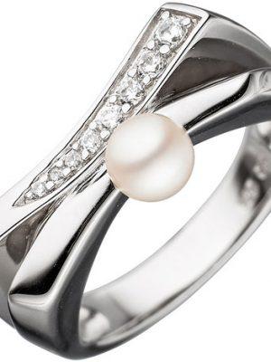 SIGO Damen Ring 925 Sterling Silber 1 Süßwasser Perle mit Zirkonia Perlenring