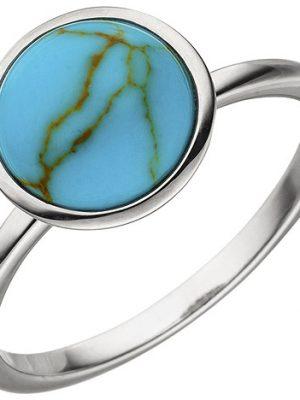 SIGO Damen Ring 925 Sterling Silber 1 Türkis-Imitation Silberring