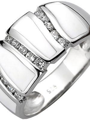 SIGO Damen Ring 925 Sterling Silber 15 Zirkonia und weiße Emaille-Einlage