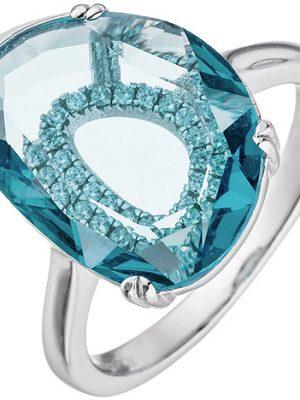 SIGO Damen Ring 925 Sterling Silber 19 Zirkonia 1 Kristall türkis Silberring