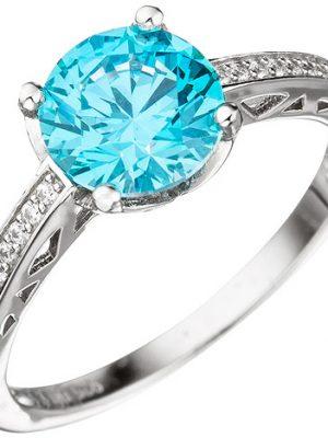 SIGO Damen Ring 925 Sterling Silber mit Zikonia türkis blau hellblau