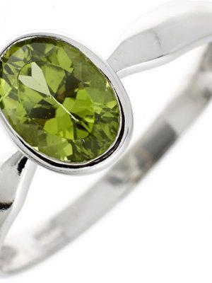 SIGO Damen Ring 925 Sterling Silber rhodiniert 1 Peridot grün Silberring