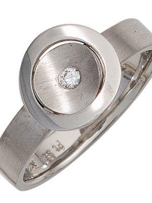 SIGO Damen Ring 950 Platin matt 1 Diamant Brillant 0,05ct. Platinring