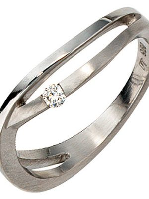 SIGO Damen Ring 950 Platin matt 1 Diamant Brillant 0,05ct. Platinring