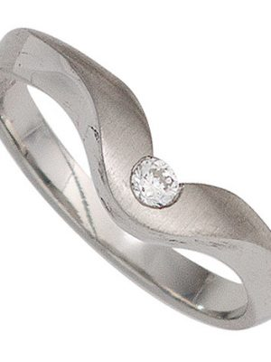 SIGO Damen Ring 950 Platin matt 1 Diamant Brillant 0,08ct. Platinring