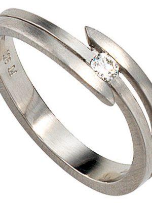 SIGO Damen Ring 950 Platin matt 1 Diamant Brillant 0,09ct. Platinring