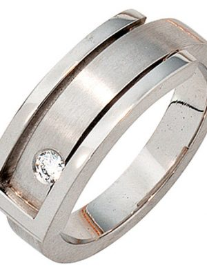 SIGO Damen Ring 950 Platin matt 1 Diamant Brillant 0,10ct. Platinring