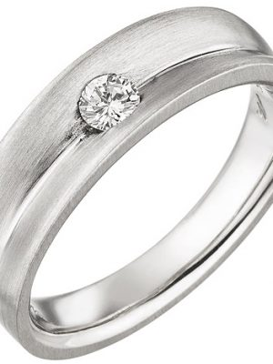 SIGO Damen Ring 950 Platin matt 1 Diamant Brillant 0,13ct. Platinring