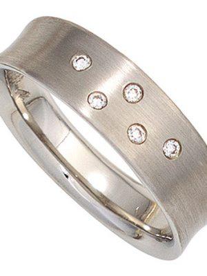 SIGO Damen Ring 950 Platin matt 5 Diamanten Brillanten 0,06ct. Platinring
