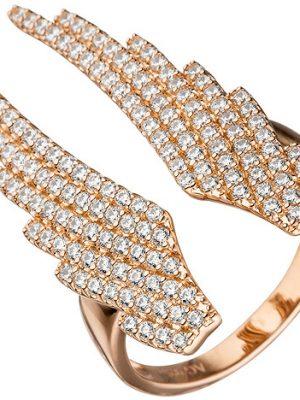 SIGO Damen Ring Flügel Engelsflügel 925 Sterling Silber rotgold vergoldet Zirkonia