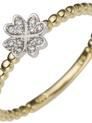 SIGO Damen Ring Kleeblatt 585 Gold Gelbgold Weißgold bicolor 12 Diamanten Brillanten