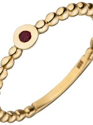 SIGO Damen Ring Kugel 333 Gold Gelbgold 1 Rubin rot Kugelring Rubinring