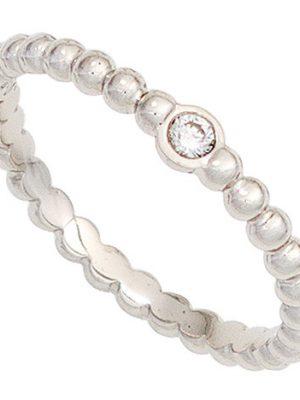SIGO Damen Ring Kugel 950 Platin 1 Diamant Brillant 0,05ct. Kugelring Platinring