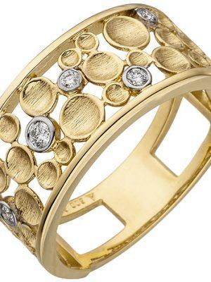 SIGO Damen Ring breit 585 Gold Gelbgold 5 Diamanten Brillanten Diamantring