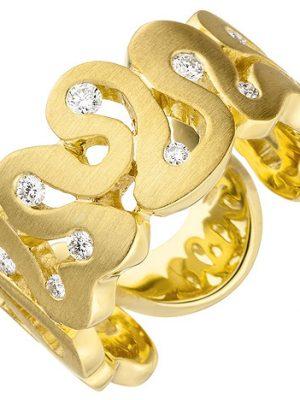 SIGO Damen Ring breit 585 Gold Gelbgold matt 10 Diamanten Brillanten Goldring