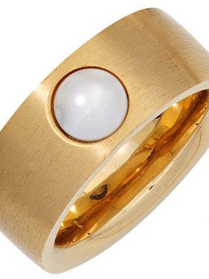 SIGO Damen Ring breit Edelstahl gold farben beschichtet 1 Süßwasser Perle Perlenring