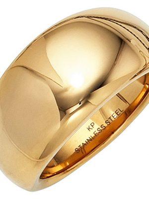 SIGO Damen Ring breit Edelstahl gold farben beschichtet