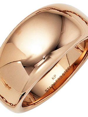 SIGO Damen Ring breit Edelstahl rotgold farben beschichtet