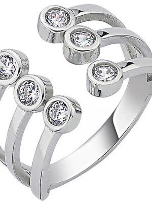 SIGO Damen Ring offen 925 Sterling Silber 6 Zirkonia Silberring
