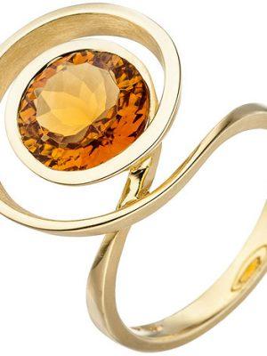 SIGO Damen Ring verschlungen 585 Gold Gelbgold 1 Citrin orange Goldring Citrinring