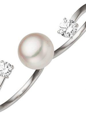 SIGO Damen Zweifinger Ring 333 Gold Weißgold 1 Süßwasser Perle 2 Zirkonia Perlenring