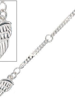 SIGO Fußkettchen Fußkette Flügel 925 Sterling Silber rhodiniert Federring