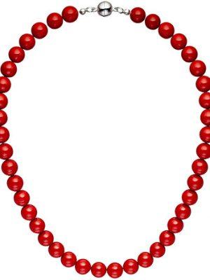 SIGO Halskette Kette Muschelkern Perlen rot 45 cm Perlenkette